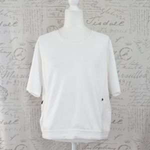 Adidas White Athletic Short Crew Top Small